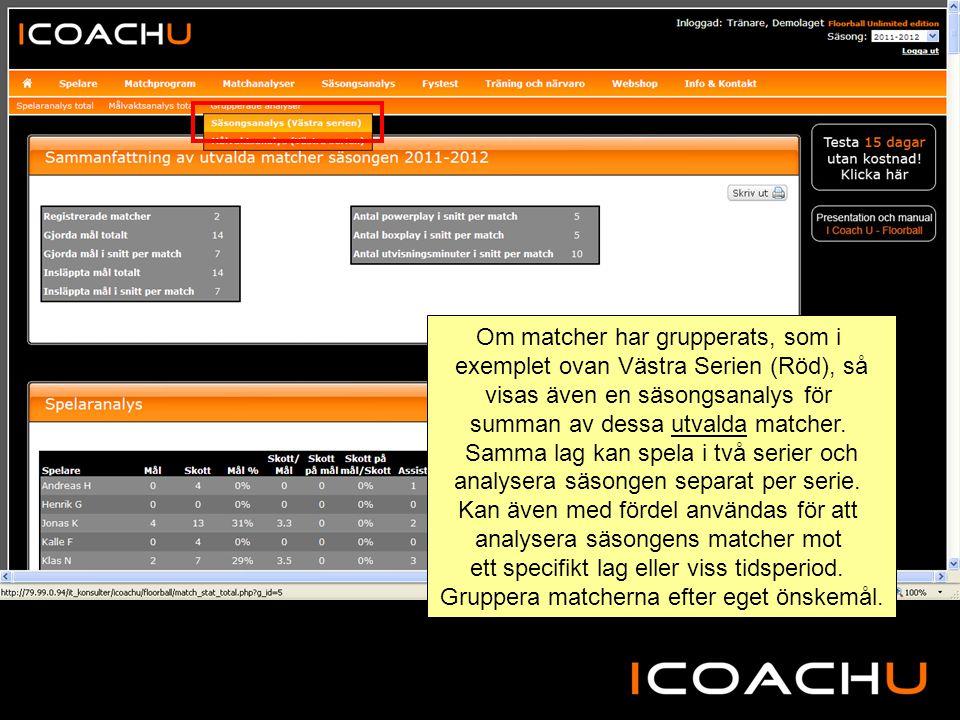 Om matcher har grupperats, som i exemplet ovan Västra Serien (Röd), så visas även en säsongsanalys för summan av dessa utvalda matcher.