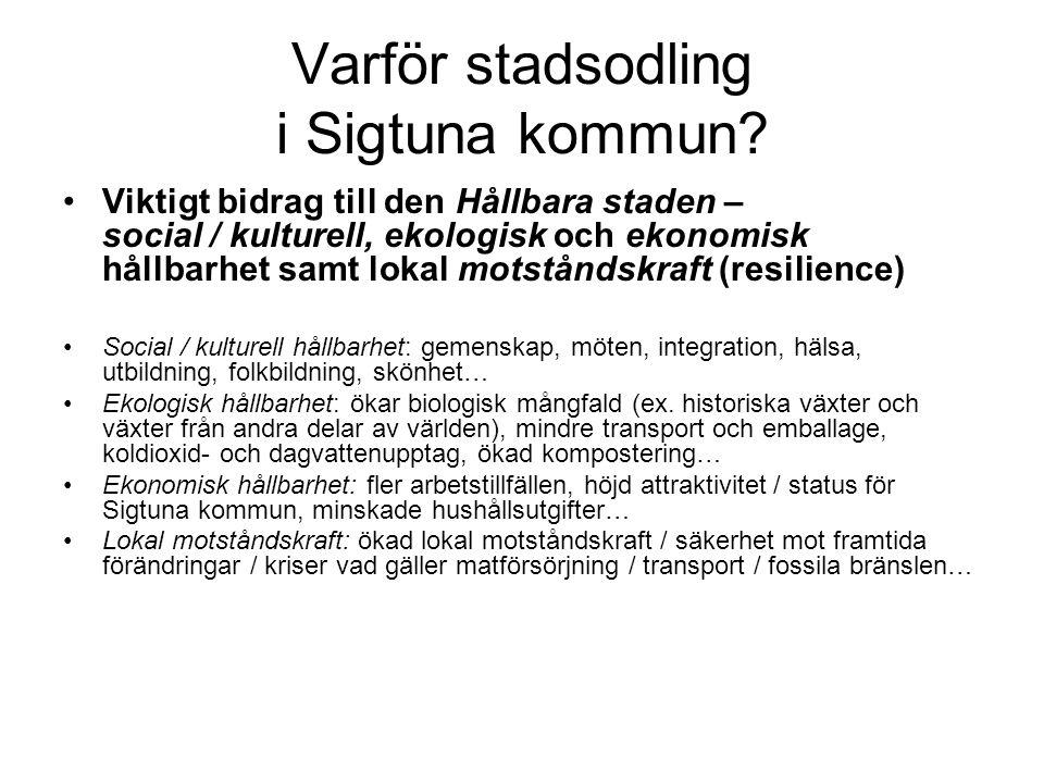 Varför stadsodling i Sigtuna kommun