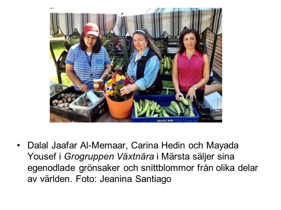 Dalal Jaafar Al-Memaar, Carina Hedin och Mayada Yousef i Grogruppen Växtnära i Märsta säljer sina egenodlade grönsaker och snittblommor från olika delar av världen.