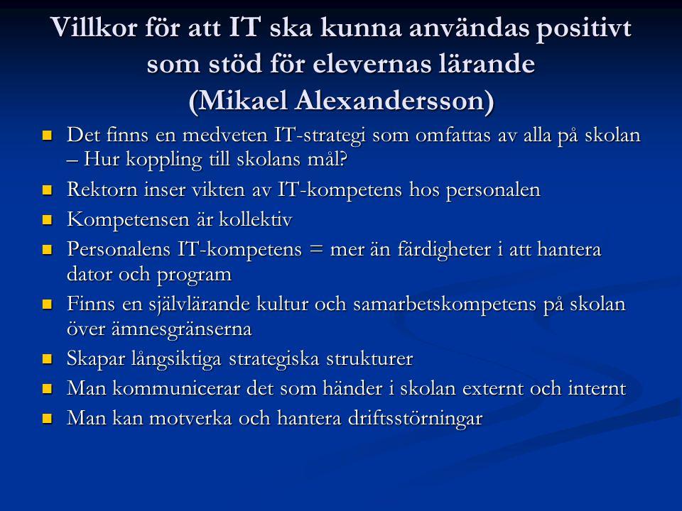 Villkor för att IT ska kunna användas positivt som stöd för elevernas lärande (Mikael Alexandersson)