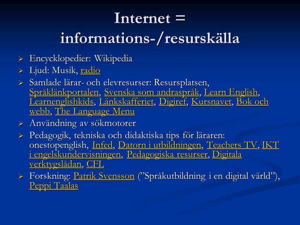Internet = informations-/resurskälla