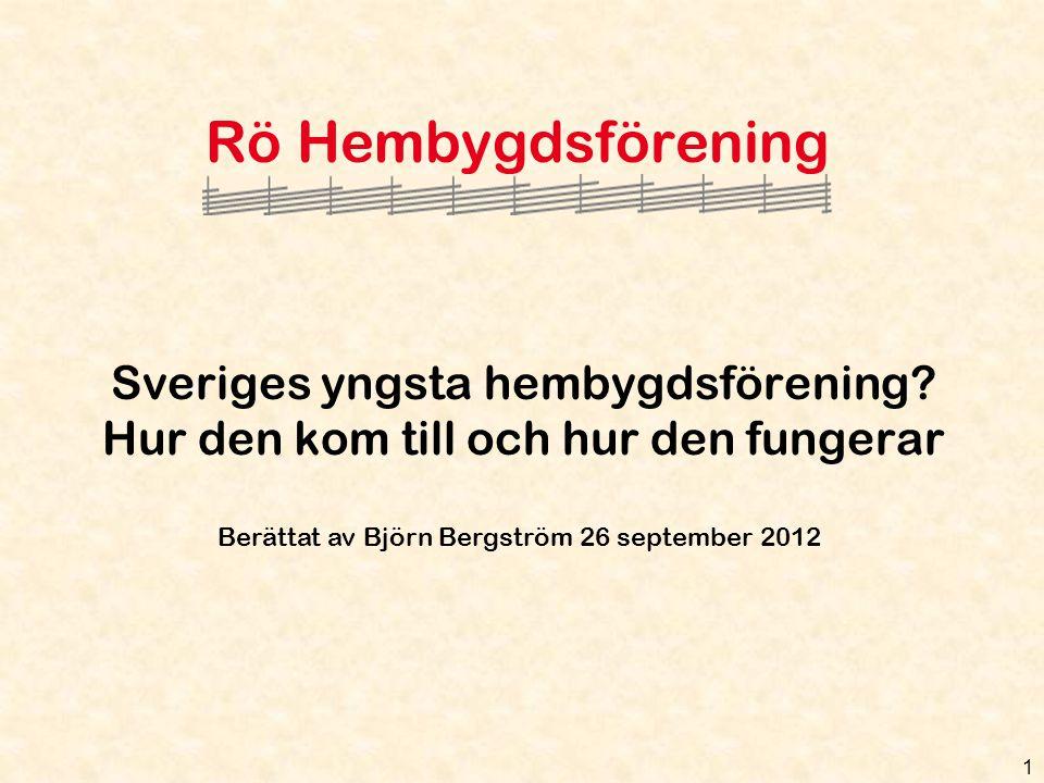 Rö Hembygdsförening Sveriges yngsta hembygdsförening.