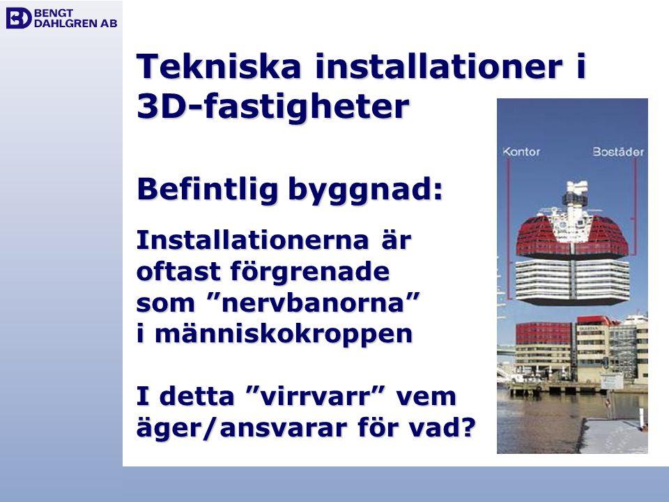 Tekniska installationer i 3D-fastigheter Befintlig byggnad: Installationerna är oftast förgrenade som nervbanorna i människokroppen I detta virrvarr vem äger/ansvarar för vad