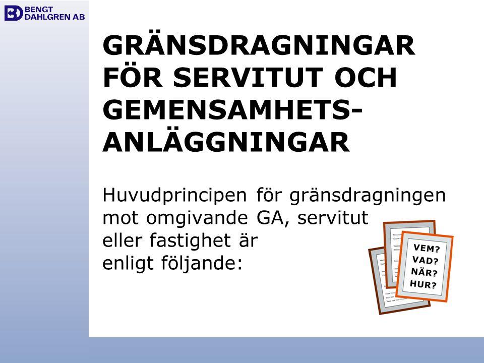 GRÄNSDRAGNINGAR FÖR SERVITUT OCH GEMENSAMHETS- ANLÄGGNINGAR Huvudprincipen för gränsdragningen mot omgivande GA, servitut eller fastighet är enligt följande: