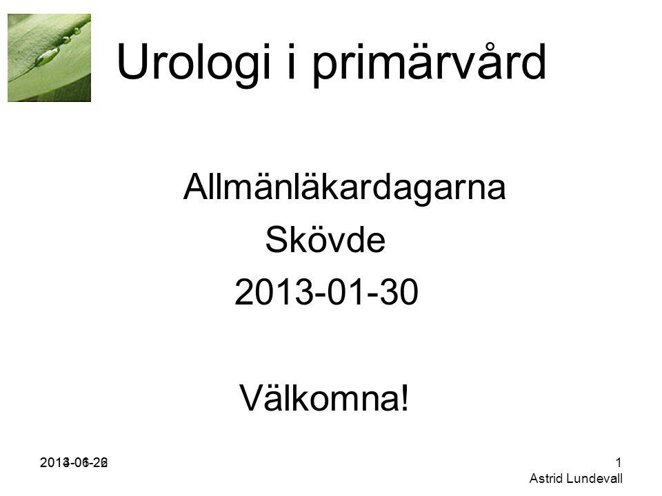 Urologi i primärvård Allmänläkardagarna Skövde 2013-01-30 Välkomna!