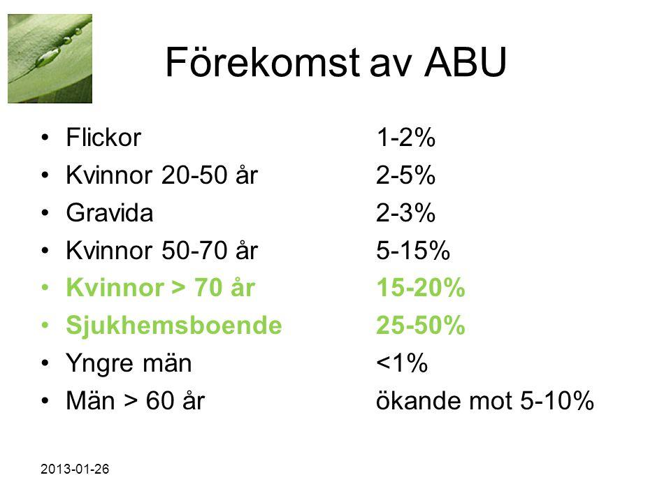 Förekomst av ABU Flickor 1-2% Kvinnor 20-50 år 2-5% Gravida 2-3%