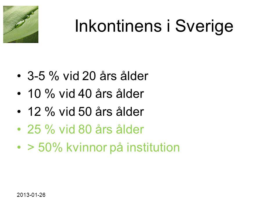 Inkontinens i Sverige 3-5 % vid 20 års ålder 10 % vid 40 års ålder