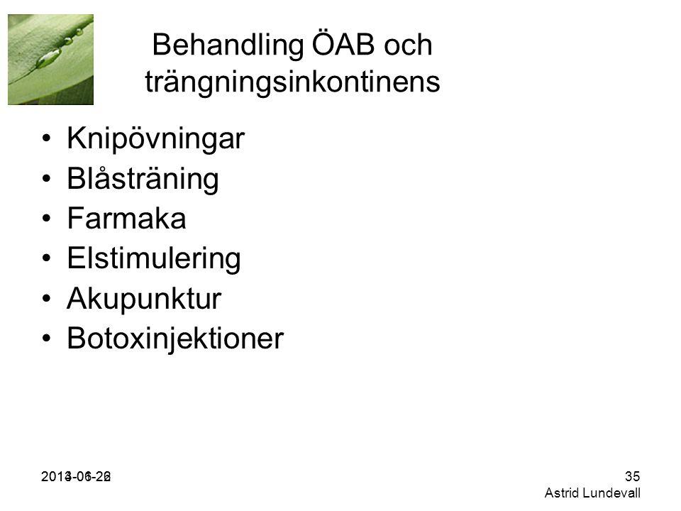 Behandling ÖAB och trängningsinkontinens
