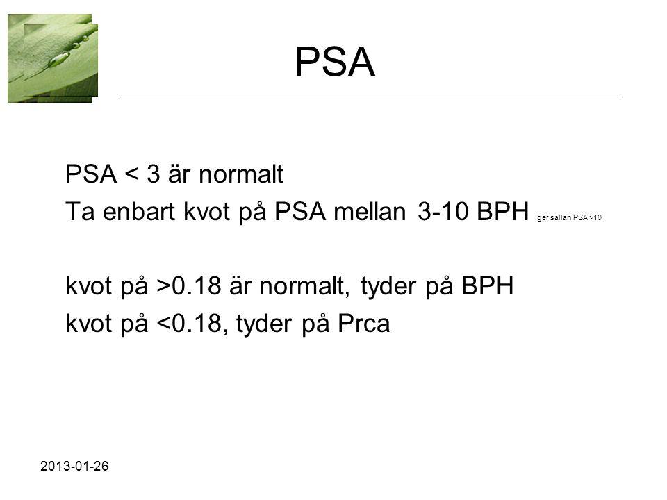 PSA PSA < 3 är normalt. Ta enbart kvot på PSA mellan 3-10 BPH ger sällan PSA >10. kvot på >0.18 är normalt, tyder på BPH.