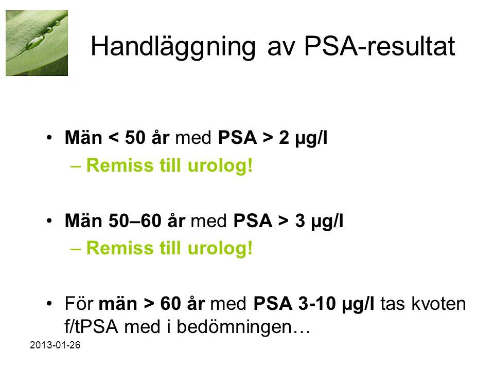 Handläggning av PSA-resultat