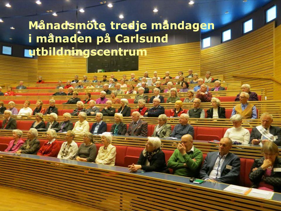 Månadsmöte tredje måndagen i månaden på Carlsund utbildningscentrum