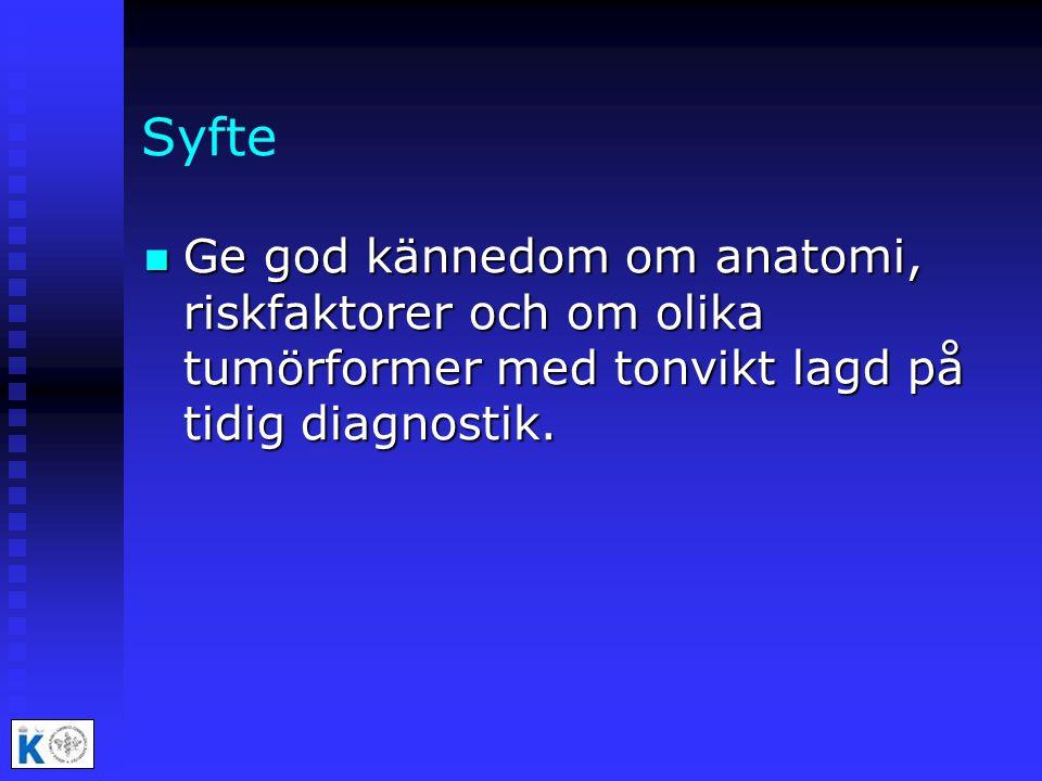 Syfte Ge god kännedom om anatomi, riskfaktorer och om olika tumörformer med tonvikt lagd på tidig diagnostik.