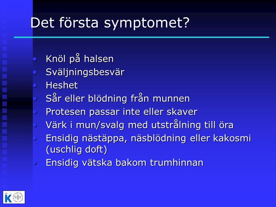 Det första symptomet Knöl på halsen Sväljningsbesvär Heshet