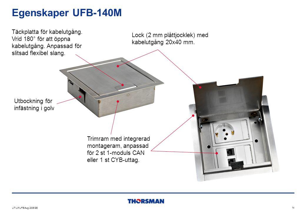Egenskaper UFB-140M Täckplatta för kabelutgång. Vrid 180° för att öppna kabelutgång. Anpassad för slitsad flexibel slang.