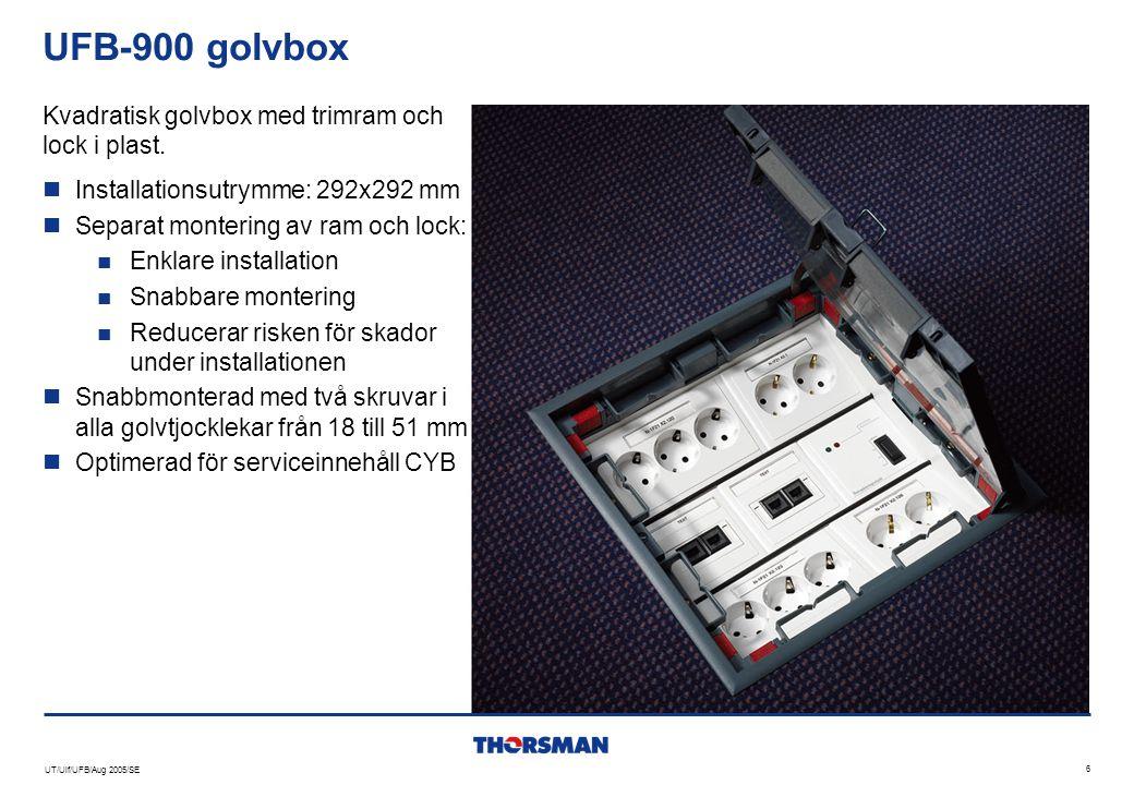 UFB-900 golvbox Kvadratisk golvbox med trimram och lock i plast.
