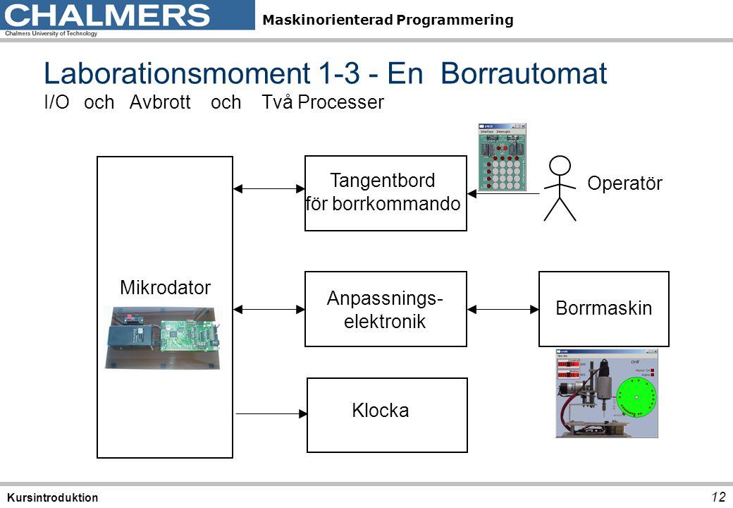 Laborationsmoment 1-3 - En Borrautomat I/O och Avbrott och Två Processer