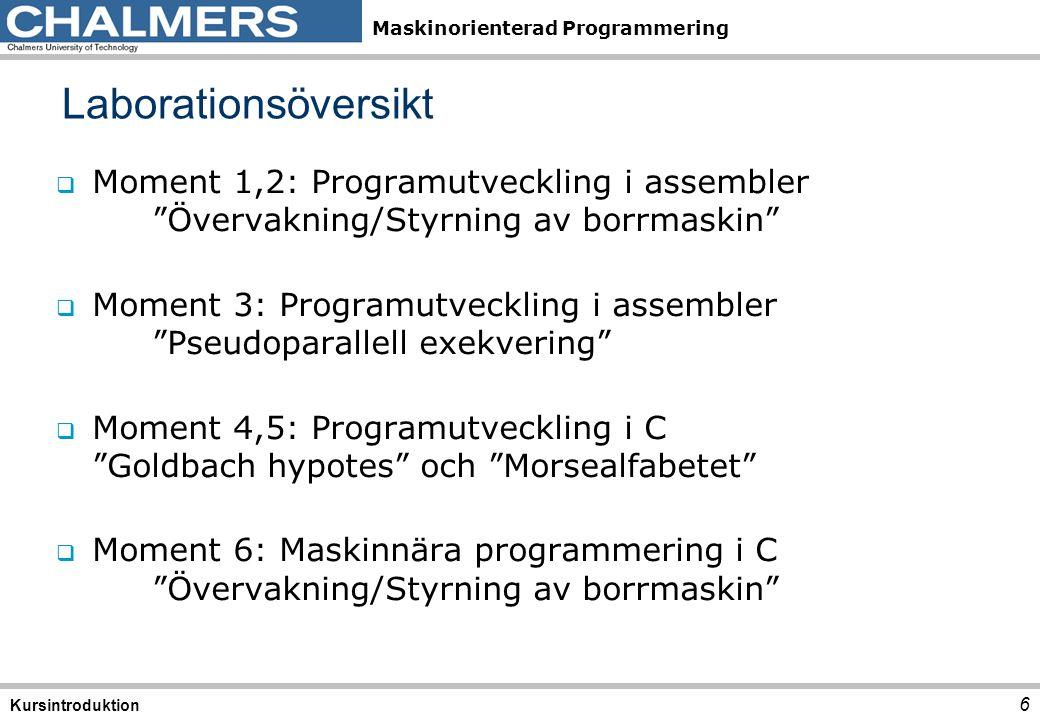 Laborationsöversikt Moment 1,2: Programutveckling i assembler Övervakning/Styrning av borrmaskin
