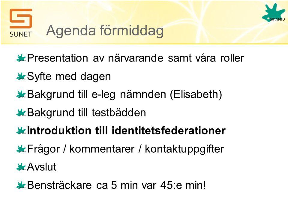 Agenda förmiddag Presentation av närvarande samt våra roller