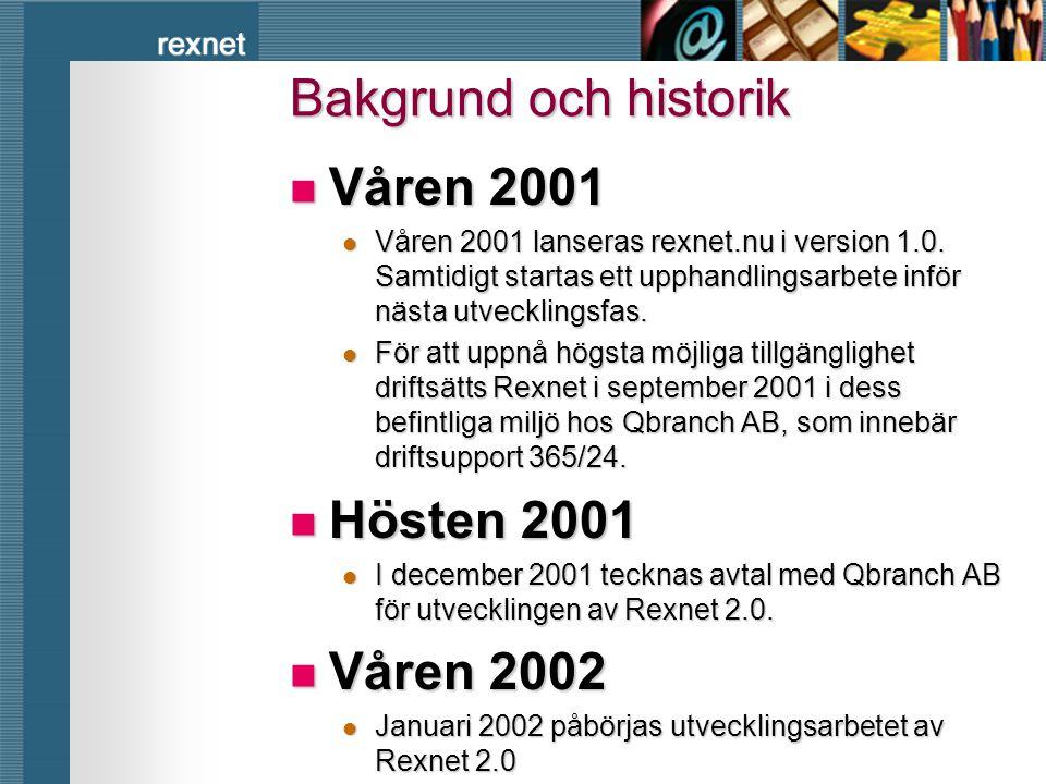 Bakgrund och historik Våren 2001 Hösten 2001 Våren 2002