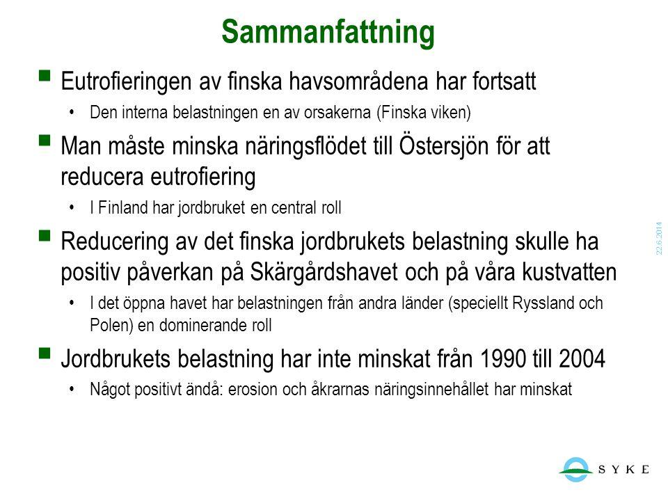 Sammanfattning Eutrofieringen av finska havsområdena har fortsatt
