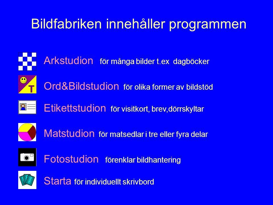 Bildfabriken innehåller programmen