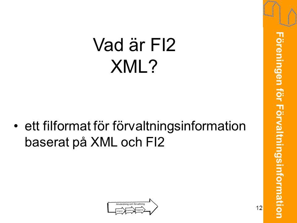 Vad är FI2 XML ett filformat för förvaltningsinformation baserat på XML och FI2