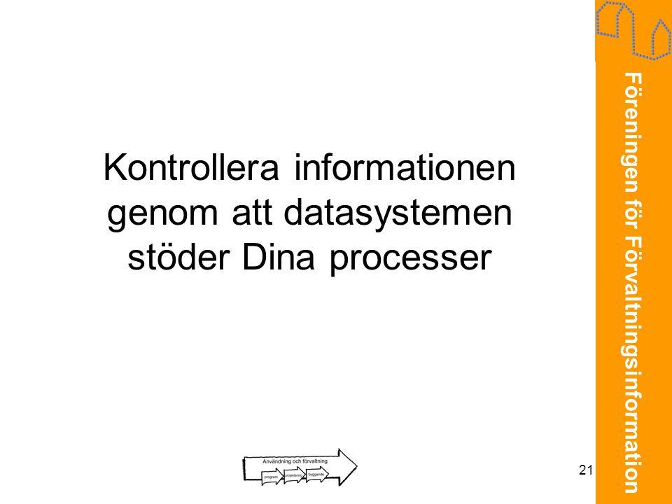 Kontrollera informationen genom att datasystemen stöder Dina processer