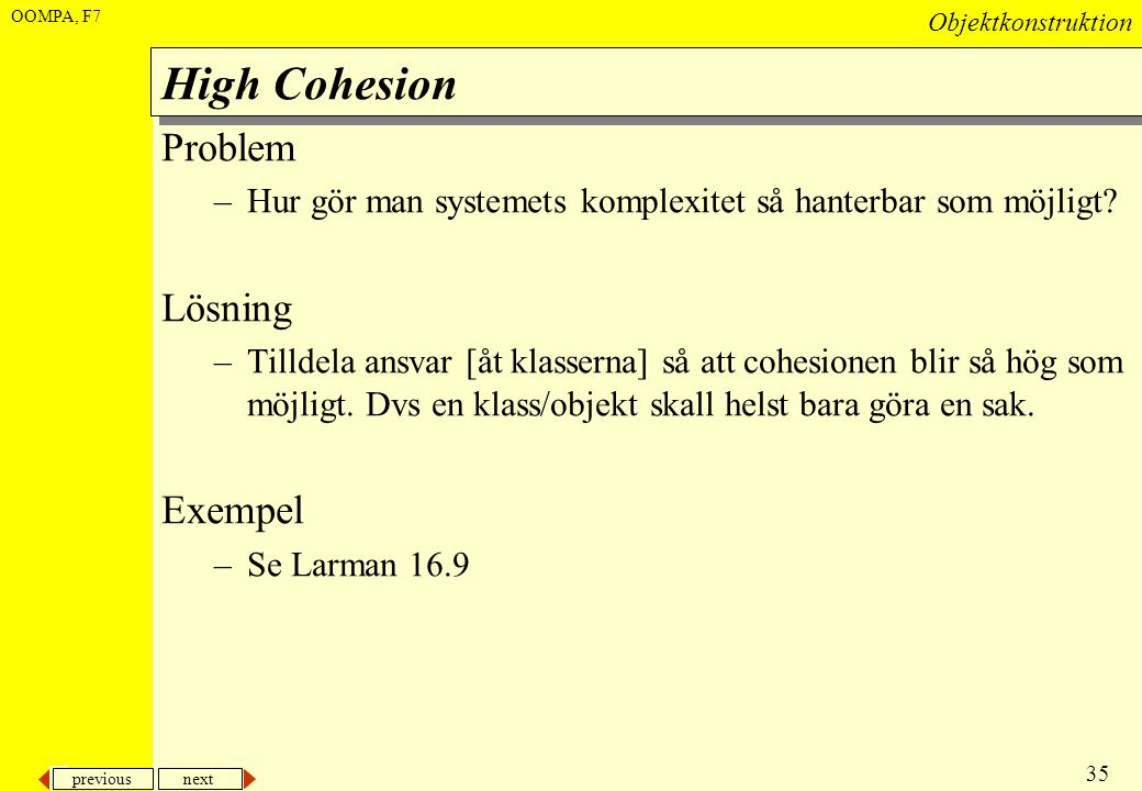 High Cohesion Problem Lösning Exempel