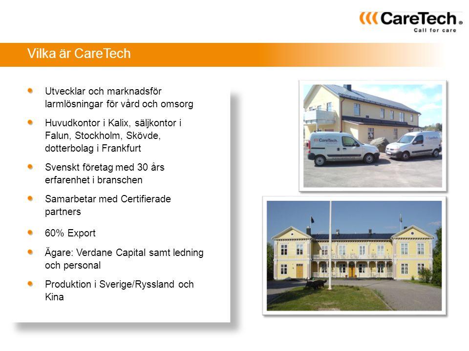 Vilka är CareTech Utvecklar och marknadsför larmlösningar för vård och omsorg.