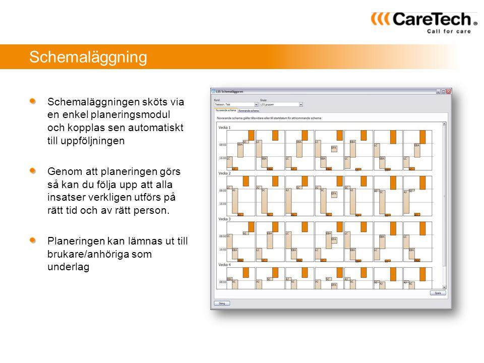 Schemaläggning Schemaläggningen sköts via en enkel planeringsmodul och kopplas sen automatiskt till uppföljningen.