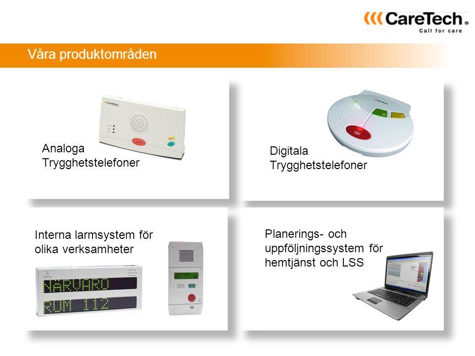Våra produktområden Analoga Digitala Trygghetstelefoner