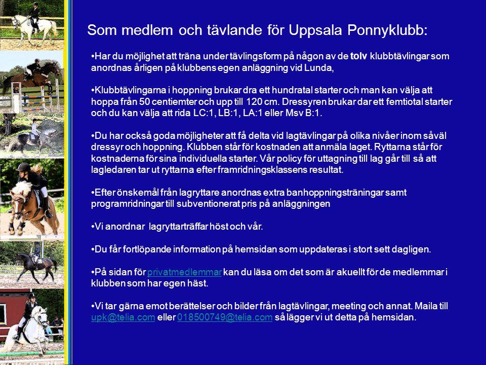 Som medlem och tävlande för Uppsala Ponnyklubb: