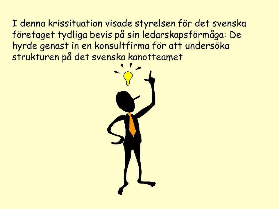 I denna krissituation visade styrelsen för det svenska företaget tydliga bevis på sin ledarskapsförmåga: De hyrde genast in en konsultfirma för att undersöka strukturen på det svenska kanotteamet