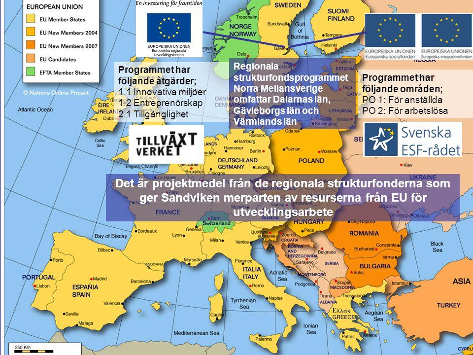 Regionala strukturfondsprogrammet Norra Mellansverige omfattar Dalarnas län, Gävleborgs län och Värmlands län