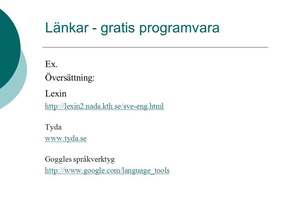 Länkar - gratis programvara