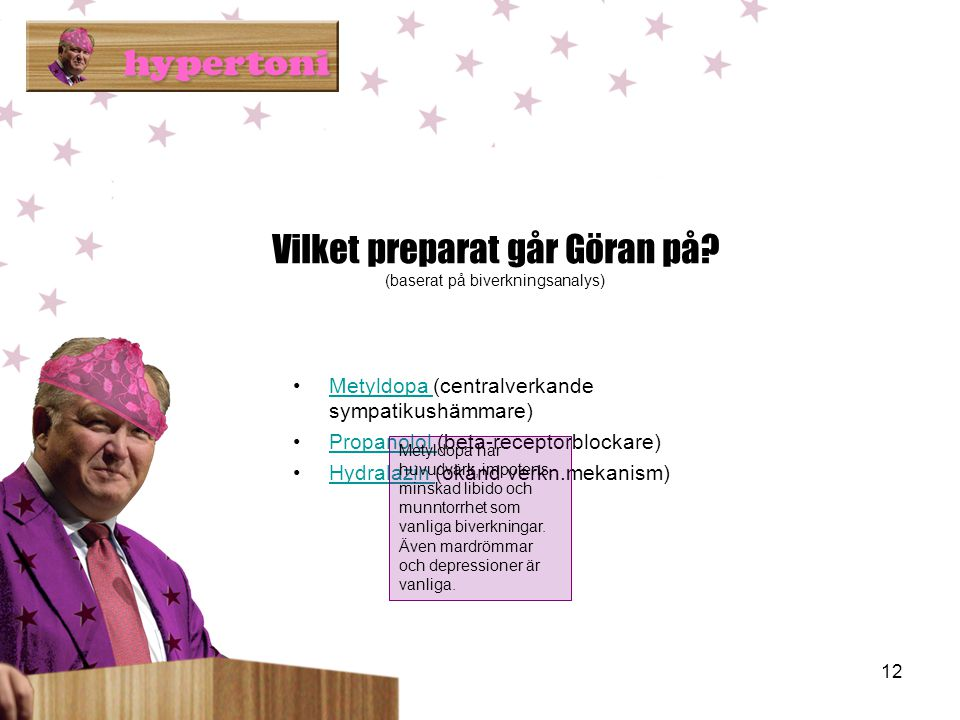 Vilket preparat går Göran på (baserat på biverkningsanalys)