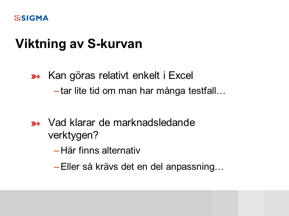 Viktning av S-kurvan Kan göras relativt enkelt i Excel