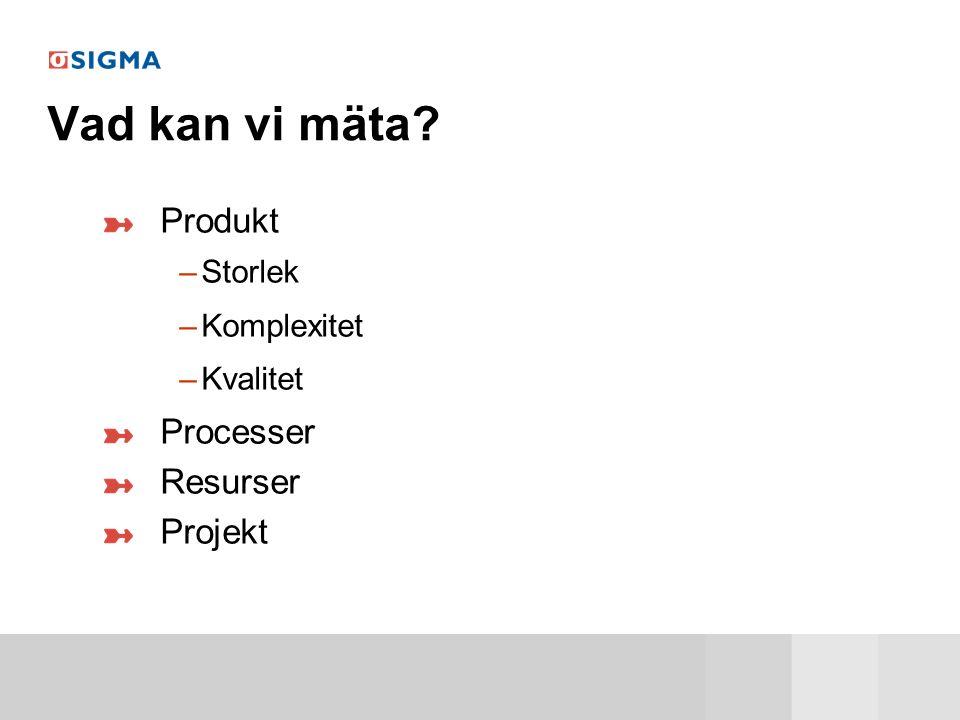 Vad kan vi mäta Produkt Processer Resurser Projekt Storlek