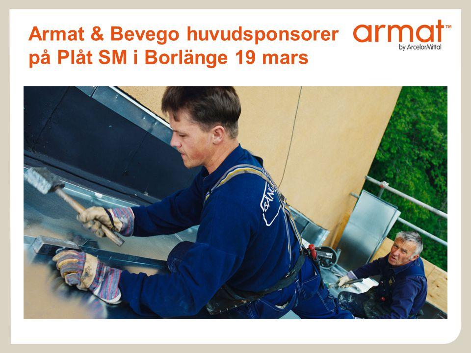 Armat & Bevego huvudsponsorer på Plåt SM i Borlänge 19 mars
