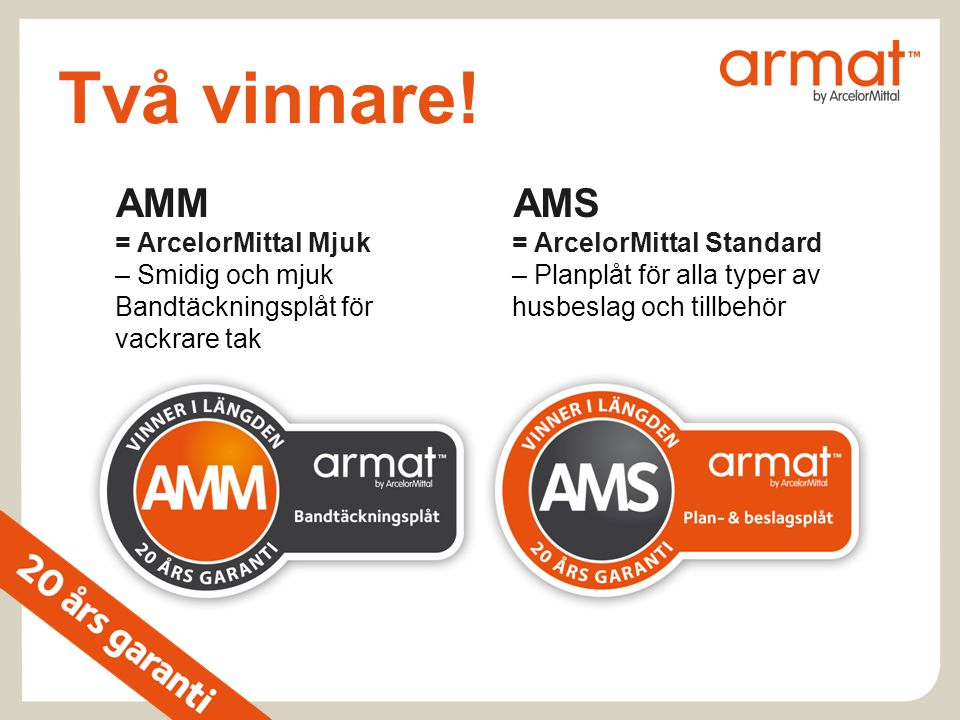 Två vinnare! AMM = ArcelorMittal Mjuk – Smidig och mjuk Bandtäckningsplåt för vackrare tak.