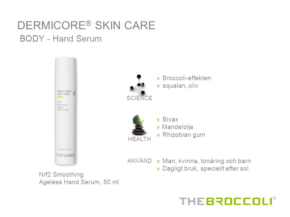 DERMICORE® SKIN CARE BODY - Hand Serum Broccoli-effekten squalan, oliv