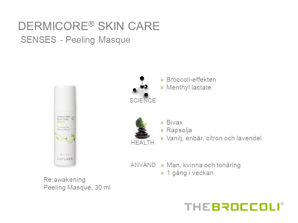 DERMICORE® SKIN CARE SENSES - Peeling Masque Broccoli-effekten
