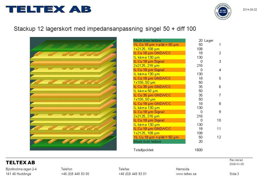 Stackup 12 lagerskort med impedansanpassning singel 50 + diff 100
