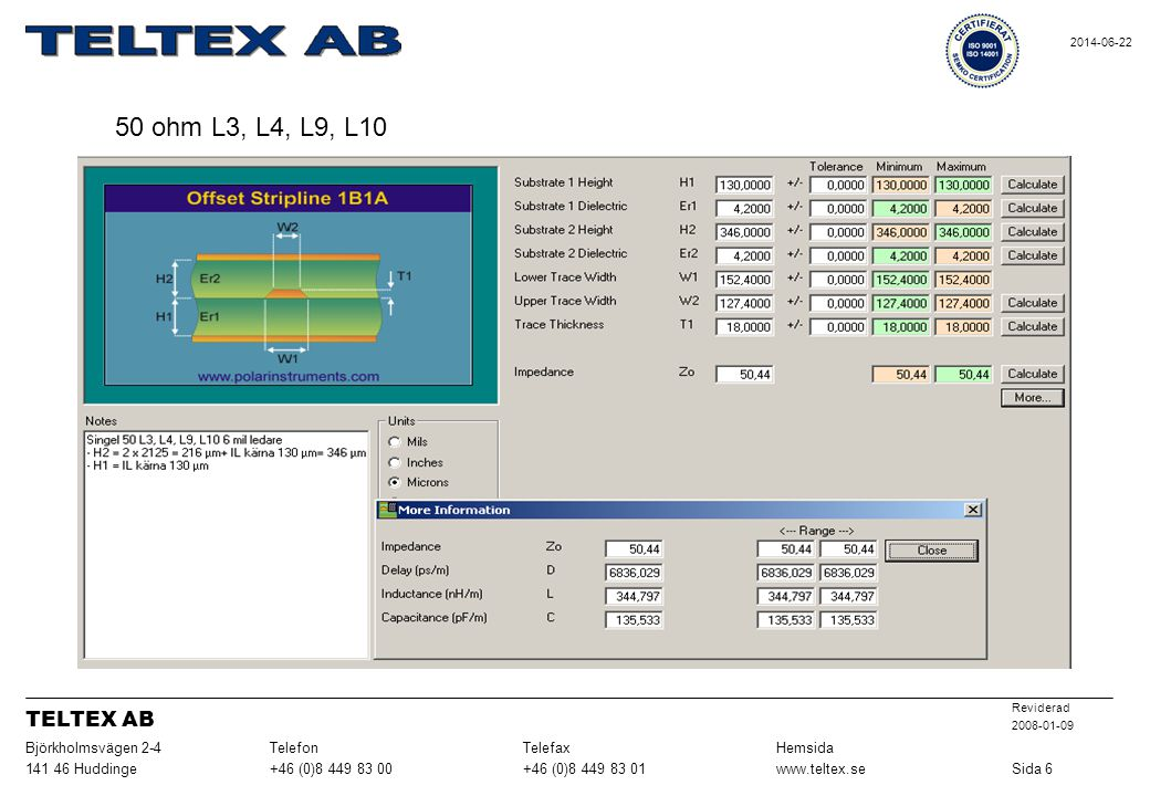 50 ohm L3, L4, L9, L10 TELTEX AB Sida 6 www.teltex.se