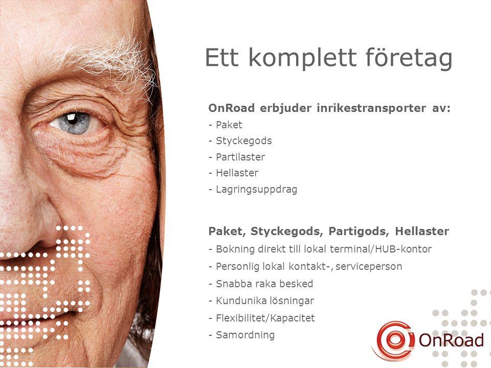Ett komplett företag OnRoad erbjuder inrikestransporter av: