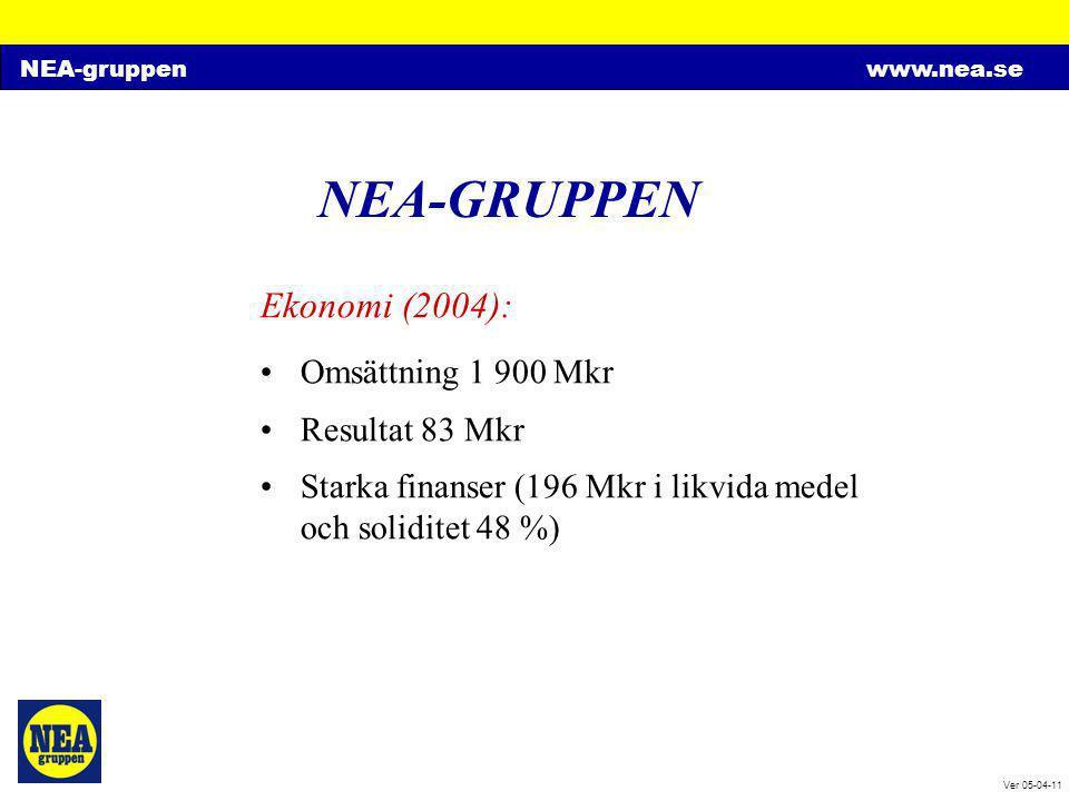 NEA-GRUPPEN Ekonomi (2004): Omsättning 1 900 Mkr Resultat 83 Mkr