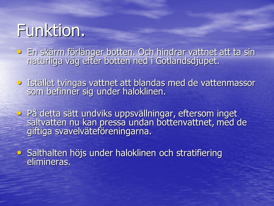 Funktion. En skärm förlänger botten. Och hindrar vattnet att ta sin naturliga väg efter botten ned i Gotlandsdjupet.