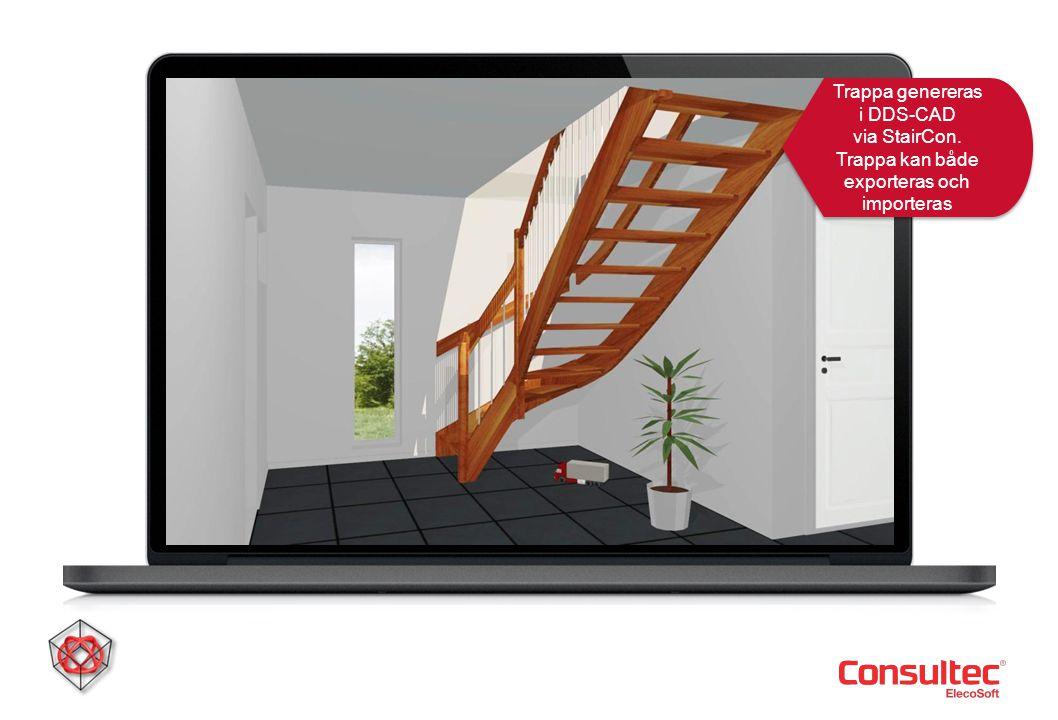 Trappa genereras i DDS-CAD via StairCon
