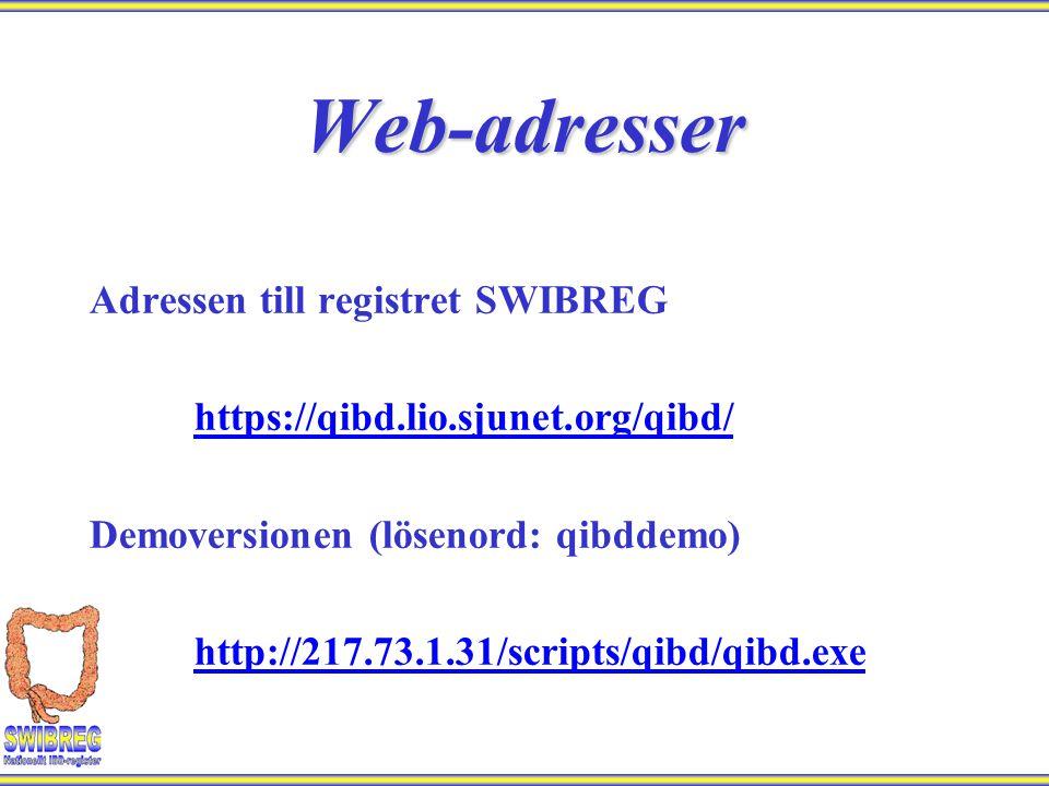 Web-adresser Adressen till registret SWIBREG