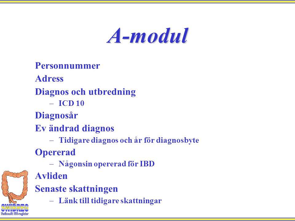 A-modul Personnummer Adress Diagnos och utbredning Diagnosår